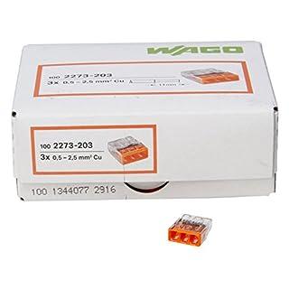 Kopp 33346421 WAGO COMPACT-Verbindungsdosenklemme 3-Leiter-Klemme orange 0,5-2,5 mm² Inhalt 100 Stück, Transparent