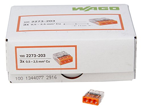 WAGO COMPACT-Verbindungsdosenklemme 3-Leiter-Klemme orange 0,5-2,5 mm² Inhalt 100 Stück, Transparent