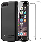 PEMOTech Akku Hülle Kompatibel mit iPhone 8 Plus Akku Hülle / 7 Plus, [Lightning Kopfhörer Unterstützung],8000mAh Schlank & Leicht Tragbares Ladegerät Wiederaufladbare Erweit (Schwarz)