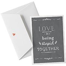 Romantische Hochzeitskarte + Umschlag für Geldgeschenk, Valentinskarte oder Hochzeitseinladung- Love is ... Valentinstag, Karte, GRAU Büttenpapier + Umschlag, AB 30 STÜCK DRUCK EINLADUNGSTEXT INKL.