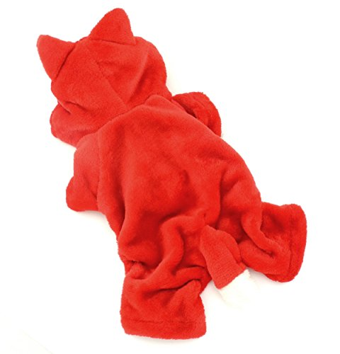tze klein Hund Kleidung Warm Fleece Little Fox Kostüm Halloween Kleid bis rot (Halloween Cat Kleid Bis)