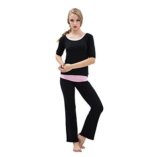 Womens klassischen Stil fitness yoga dreiteilige Set, Weste / Dreiviertel-Ärmeln top / pants - schwarz