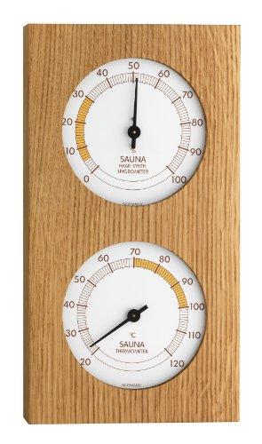 TFA Dostmann Analoges Sauna-Thermo-Hygrometer, mit Eichenrahmen, Temperatur, Luftfeuchtigkeit,...