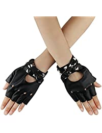 a826f779ef58e2 Homedecoam Damen Punk Rock Fingerlose Gothic PU Leder Handschuhe für  Cosplay Kostüm Fahrrad Sports Handschuhe mit