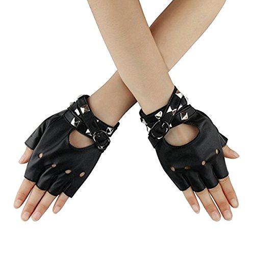Homedecoam Damen Punk Rock Fingerlose Gothic PU Leder Handschuhe für Cosplay Kostüm Fahrrad Sports Handschuhe mit Nieten