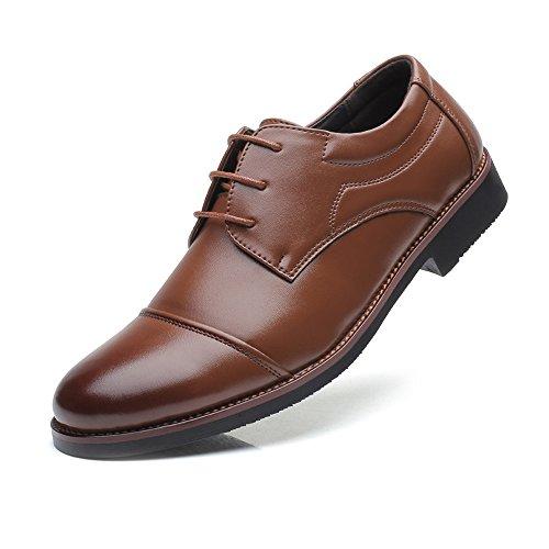 H.Y.BBYH Schuhe Herren Formelle Business-Schuhe Matte PU Leder Splice Lace Up Atmungsaktiv Gefüttert Oxfords Atmungsaktiv (Color : Braun, Größe : 28.5CM) -