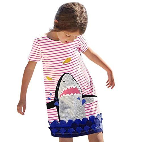 Fuxitoggo Mädchenkleider, Kinder Baby Mädchen Sommer Niedlich Kurzarm Shark Printed Princess Party Kleid Lässig A-Line Gestreiftes Strandkleid Kleinkind Nettes Tutu-Kleid für 1-5 ()