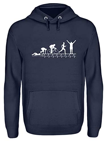 Triathlon Shirt · Geschenkidee für Triathleten· Motiv: Triathlon Herzschlag Evolution 2 - Unisex Kapuzenpullover Hoodie -L-Oxford Navy (Triathlon Hoodie)