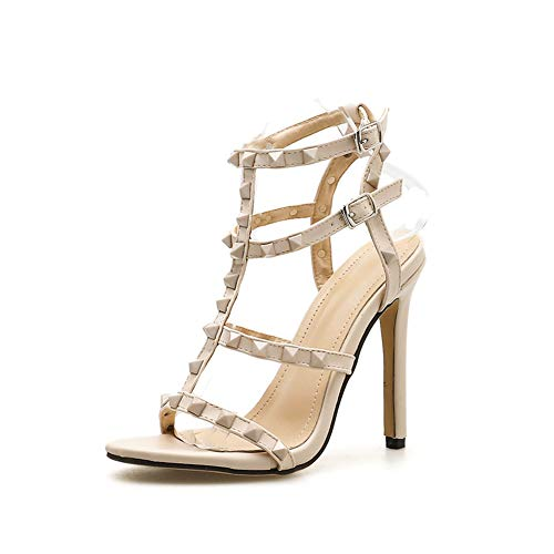 els Design Stiletto Niet Pumpen Sexy Lady Peep Toe Sandalen Schnalle Prinzessin Party Schuhe,White,40EU8.5US6.5UK ()