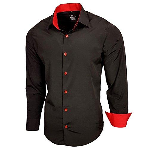 Baxboy Edel Dezent Schlicht Herren Hemd Herrenhemd Hemden Kontrast Langarm B-44 Schwarz / Rot