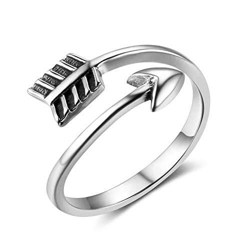 Zolkamery Vintage Ring 925 Sterling Silber Einstellbar Cupid's Pfeil Ringe für Damen Herren Thai Silber Unisex Band Ring Offen Boho Stapelbar Knöchel Schmuck für Frau Freundin Tochter