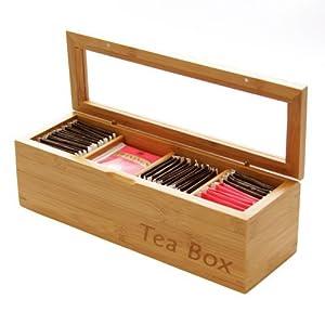 Woodquail Boîte à Thé en Bambou Naturel