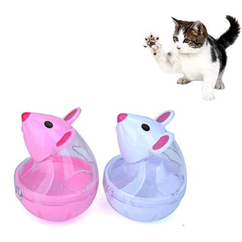 Zhuotop Dispensador de golosinas para Gatos, Juguete con Forma de ratón, comedero Lento, Bola de Comida, Juguete Interactivo para Mascotas