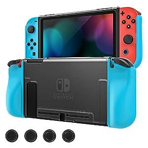 MoKo Hülle Kompatibel mit Nintendo Switch, Vollschutzhülle für Slim Cover Switch Shell mit 4 STÜCK Joystick-Kappen, Stoßdämpfungs-Kratzschutz für Switch Console und Joy Con Controllers