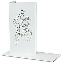 Geburtstagskarten Set, Alle Guten Wünsche, mit goldener Folienprägung - Umschlag weiß, 20 Stück, Glückwunschkarte für jeden Anlass: Volljährigkeit oder runder Geburtstag, DIN Lang, Klappkarte Grüße