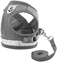 Dog and Cat Universal Harness with Leash Set, Escape Proof Cat Harnesses - Adjustable Reflective Soft Mesh Cor