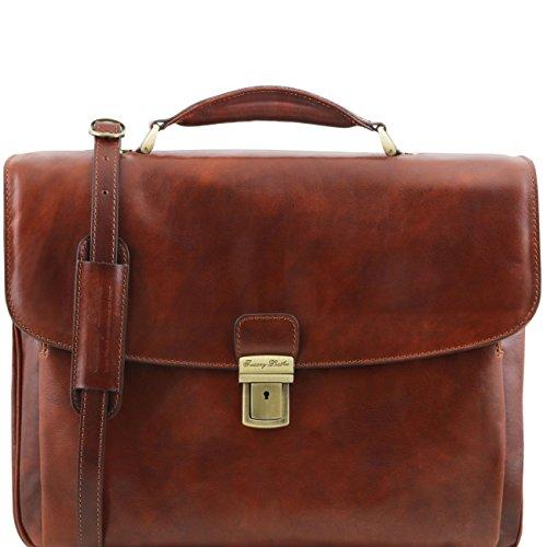 Tuscany Leather Alessandria - TL SMART Multifach-Notebooktasche aus Leder Dunkelbraun Lederaktentaschen Braun