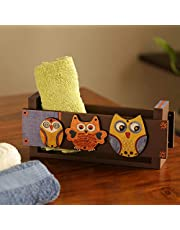 ExclusiveLane Pine Wood Tissue Roll Organiser Bathroom Towel Holder, Multicolour