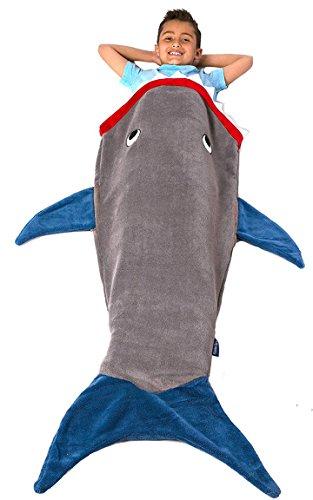 Bada Bing Decke Kuscheldecke Hai Fisch Grau Blau Kinder Motiv Kuschelmonster 41 (Blau-grau Kuscheldecke)