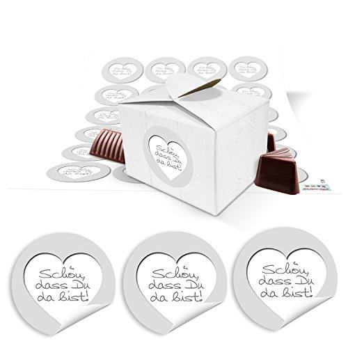 24 SCHÖN DASS DU DA BIST Geschenk-Schachtel Mini-Schachtel Geschenk-Karton klein 8 x 6,5 x 5,5 + Aufkleber grau weiß silber Verpackung Tisch-deko Gastgeschenk Hochzeit Fest Mitgebsel give-away