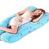 Almohada de embarazo para la panza de crecimiento Soporte de la almohada de maternidad de cuerpo completo con forma de U Apoyo de la espalda para la madre con la cubierta extraíble con cremallera