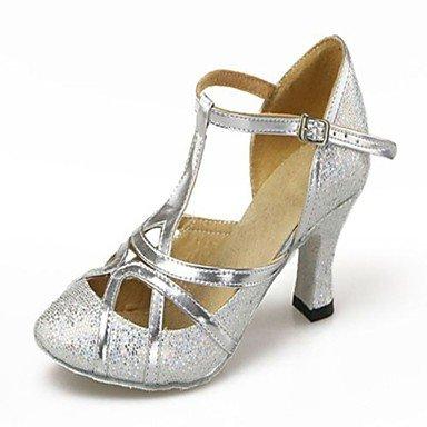 Silence @ Chaussures de danse pour femme en similicuir/paillettes en similicuir/paillettes moderne/salle de bal talons cubain Heelprofessional/ Silver