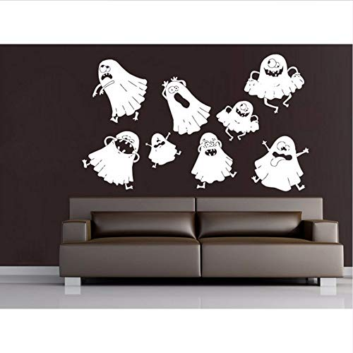 Cute Lovely Ghost Halloween Wall Decals Vinyl Wall Sticker Home Bedroom Creative Decor Happy Halloween Party Wall Poster 53 * 89.cm