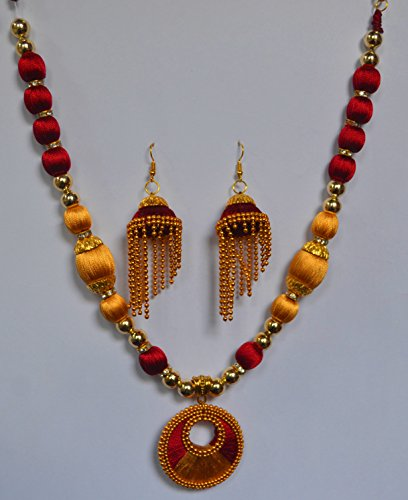 Ps artworks Silk thread necklace set golden & maroon with earring