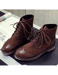 &ZHOU Botas otoño y del invierno botas cortas mujeres adultas 'cargadores de Martin Knight botas A28 , yellow brown , 37