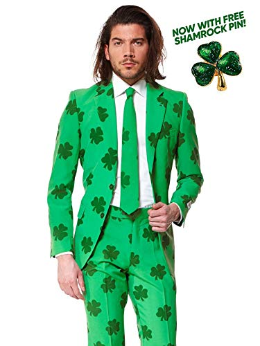Opposuits Patrick Suit for St. Patrick's Day Coming with Green Pants, Jacket, Tie and Free Shamrock ()