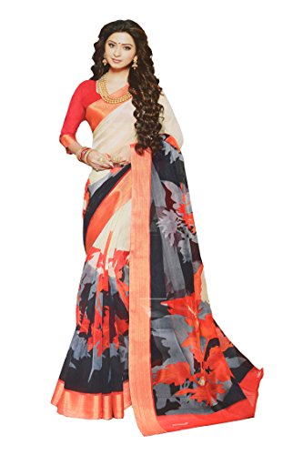 Apple Blossom Organza Silk Saree with blouse latest collection (Red)