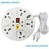 eSYSTEMS Extension Cord, Multi Plug Points Universal Sockets Strip, LED Indicator & Master Switch, 3.6 Meters Cord - 6 AMP, White