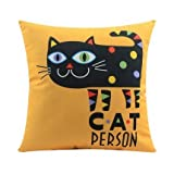 TKMSH Cartoon Super Cats Cushion Cover Geometry Cat Person Kitten Pillow Covers Velvet Cushions Baby Kids Pillowcase for Couch Sofa Or Bed Set Cozy Home Decor Size:18 X 18 Inches/45cm x 45cm