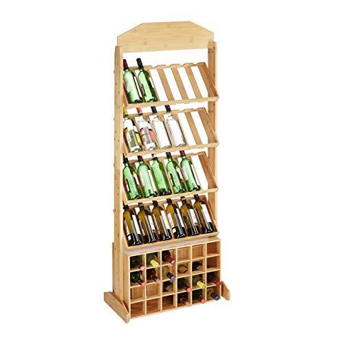 Relaxdays, Natur Weinregal XXL, Weinständer, Flaschenregal aus Bambus, Platz für 48 Flaschen, offen, HBT: 176x67x35 cm