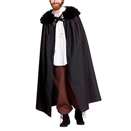 Nachtwache Umhang Kostüm mit Fellkragen für Game of Thrones Fans von Elbenwald schwarz (Cersei Game Of Thrones Kostüme)