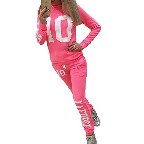 Inlefen Tuta da Donna Tuta da Jogging Tuta Comoda Pantaloni a Maniche Lunghe Pullover 2 Pezzi di Abbigliamento Set Felpa Sportiva Pantaloni Fitness Tute Yoga 4 Colori