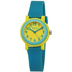 ZEIGER Kinder Uhr Jungen Armbanduhr Blau Gelb Analog Quarz Sportlich Uhr KW074