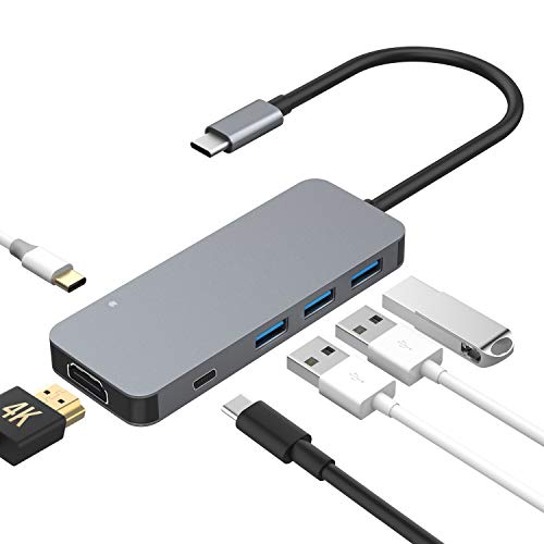 SenPuSi USB C Hub, 6 in 1 Type C Adapter mit 4K HDMI, 3 USB 3.0 Anschlüsse, 2 USB-C (Stromversorgung/Datenübertragung) USB C Hub für MacBook Pro,MacBook Air 2018,Samsung S8/S9,Huawei Mate20 usw. (Hdmi-kabel 6 In)