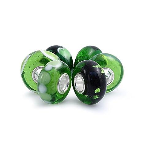 Bling Jewelry Set of Six Bundle Green Simulated Emerald Murano glass Lampwork Bead Charm .925 Sterling