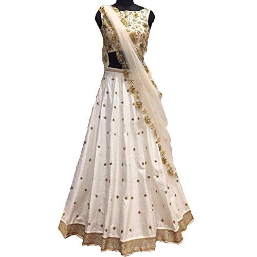 Teeswala Women\'s Bangalory Silk Lehenga Choli (White Color) (Mastani) (Free size) (Semi Stitched)