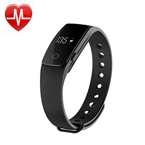 Fitness Tracker mit Herzfrequenz-Monitor, Smart Schrittzähler Armband mit Pedometer- und Kalorienzähler, Schlaf-Monitor, Stoppuhr, Wecker, Anruf- und SMS-Benachrichtigung für iPhone, Samsung, IOS und Android-Handys
