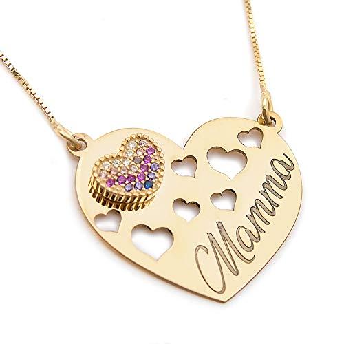Collana ciondolo forma di cuore donna ragazza regalo festa della mamma doppio cuore zirconato in argento 925