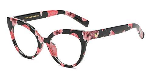 BOZEVON Donna Moda Classico Montatura Occhiali da Vista Occhiali con Lenti Trasparenti Occhio di gatto Occhiali , Fiore