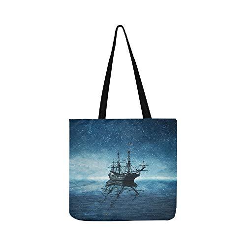 Un fantasma pirata nave galleggiante su un freddo blu scuro s canvas tote handbag crossbody borse borse per uomini e donne shopping tote