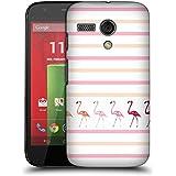 Official Monika Strigel Pink Duo Flamingos And Stripes Hard Back Case for Motorola Moto G (1st Gen)