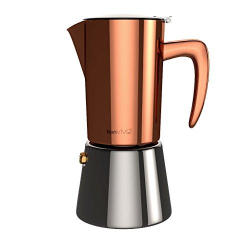 bonVIVO Espressokocher in Kupfer/Chrom Optik