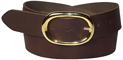 Fronhofer Damengürtel goldene Schnalle oval, 4 cm Gürtel Damen echt Leder schwarz, braun, dunkelbraun, cognac, weiß, rot, 17613, Größe:Bundweite 85 cm, Farbe:Dunkelbraun