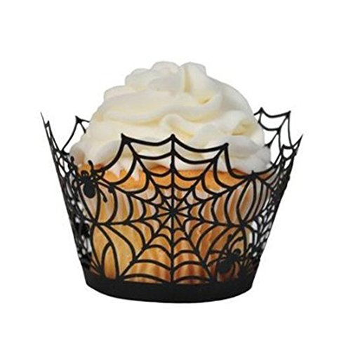 rosenice Cupcake Wrappers Spinnennetz Laser Wrapper Liners Halloween Kuchen Dekoration in schwarz 50Stück (Liner Schwarz Cupcakes)