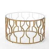 Tische Jcnfa Beistelltisch, rund gehärtetes Glas Nachttisch für Wohnzimmer Eisen Kunst Couchtisch Gold 56 * 50 cm