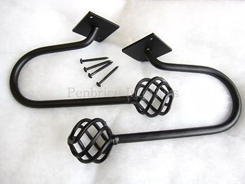 2 Cameron plus denses fer forgé noir grande taille en métal Homestyle maintien dos